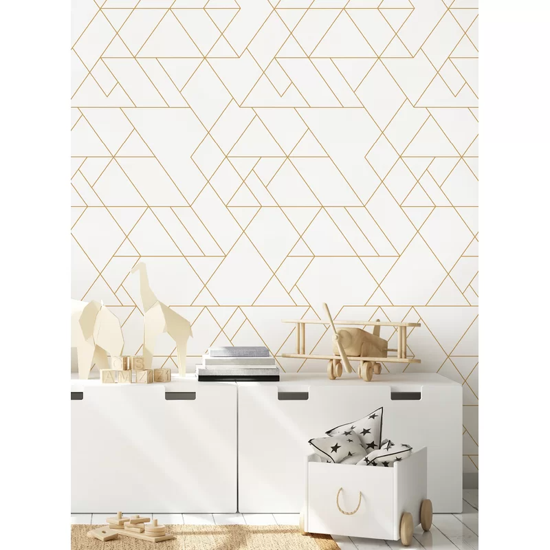 Stinchcomb Triangle Art Deco Paintable Peel And Stick Wallpaper Panel In 2021 Wallpaper Panels White And Gold Wallpaper Peel And Stick Wallpaper