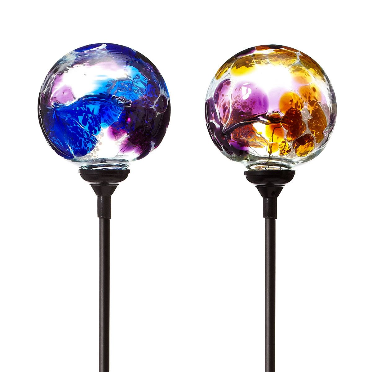 SOLAR LIGHT GARDEN STAKE   FLOWER GLOBES | Garden Art, Glass Globe