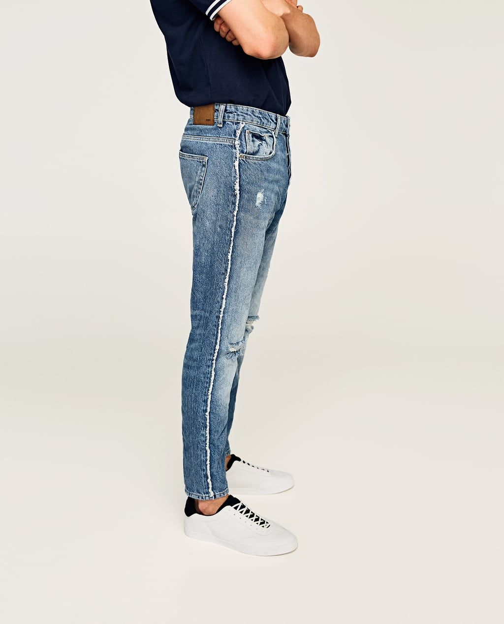 Slim Fit Jeans With Fringe View All Jeans Man Sale Zara Hong Kong S A R Of China Denim Fashion Jeans Slim Fit Jeans