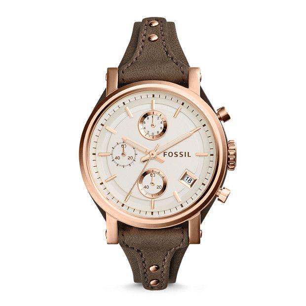 Original Boyfriend Chronograph Gray Leather Watch Fossil Watches Women Fossil Watches Leather Watch