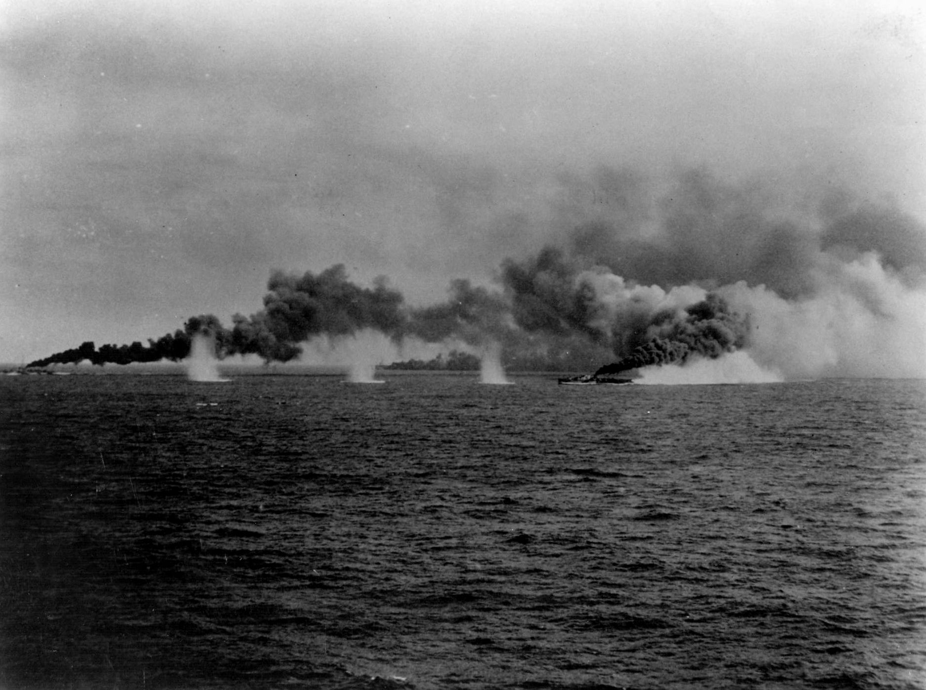 Image result for WW2 warship smoke screen