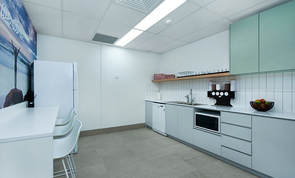 Corporate Workplace Kitchen And Breakout Area Features In One Of Our Central  Coast Office Design And