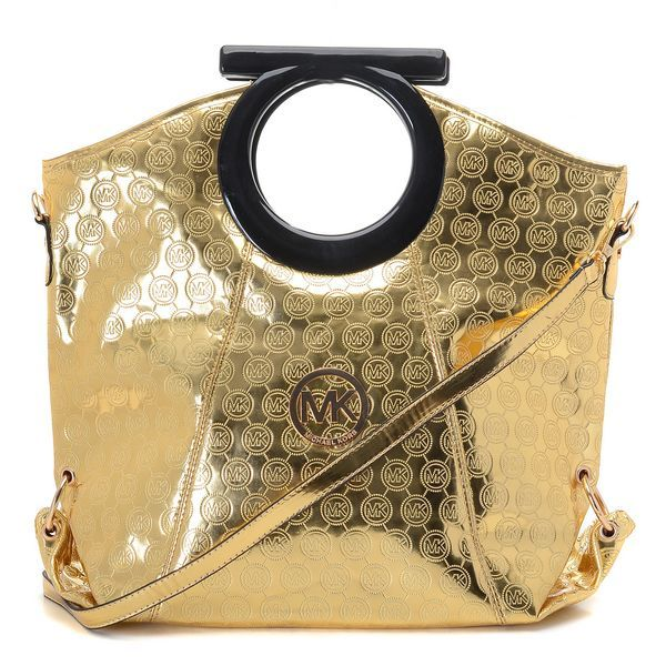 Michael Kors Mirror Metallic Patent Leather Clutches Golden with black cut out handles