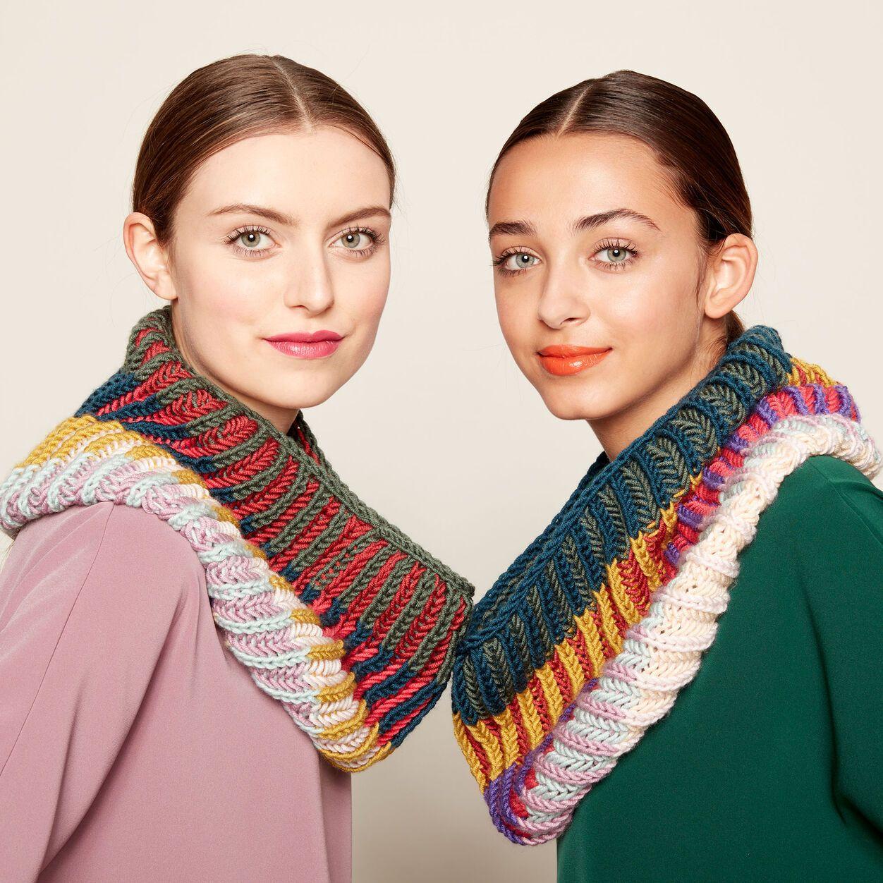 Photo of Caron x Pantone Brioche Knit Cowl Free Pattern