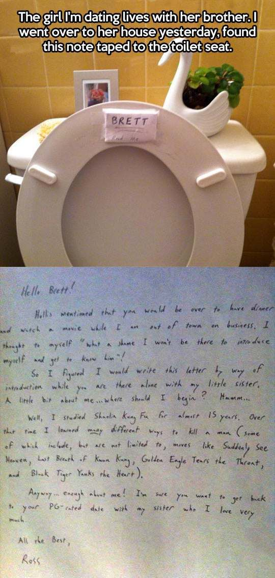 Protective big brother leaves a note… : Humour Spot