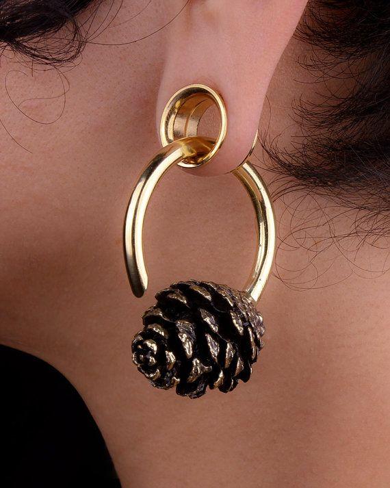 Hoop Earrings Pine Cone Gauged Earrings By Eleven44jewelry My