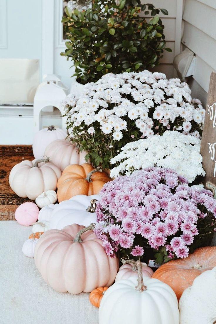 A Pink Fall Front Door Decor Pink Pumpkins The Pink Dream Fall Front Porch Decor Fall Outdoor Decor Fall Halloween Decor