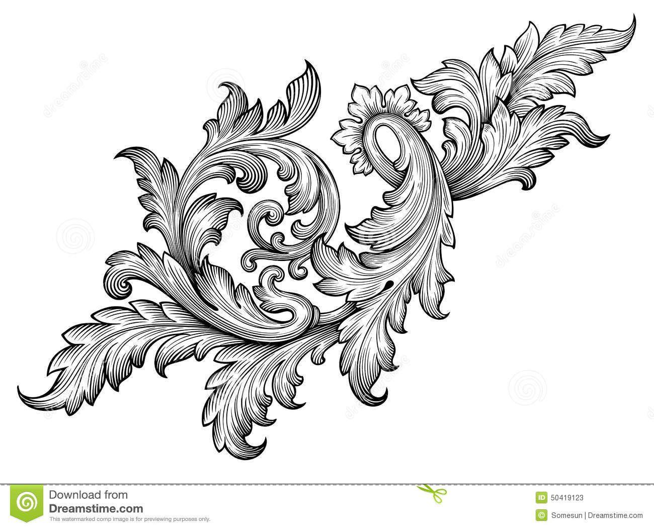 Vector Vintage Baroque Frame Scroll Pattern Stock Images - Image ...