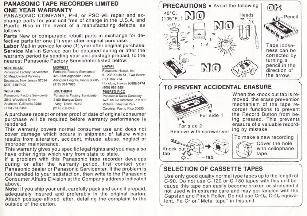 1985 Panasonic RQ-2103 Operating Instructions : Panasonic