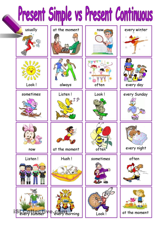 present Simple vs Present Continuous | ESL - Verb Tenses | Pinterest