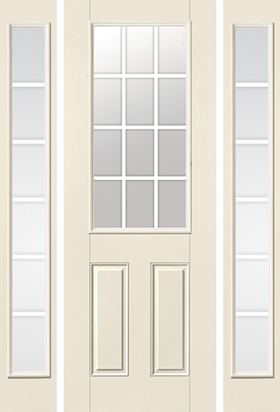 Gbg Flat Wht Colonial 12 Lite 8ft Half Lite 2 Panel Smooth Star Door 2 Sides 6 Lite Garage Door Design Garage Doors Doors