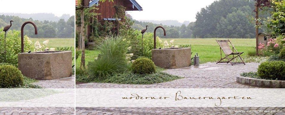 Landhausgarten granitbrunnen Pinterest Gartenplanung - gartenarchitektur