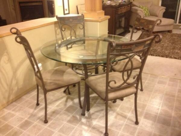 Ashley Round Glass Dining Table With Four Matching Chairs Glass Round Dining Table Glass Dining Table Dining Table