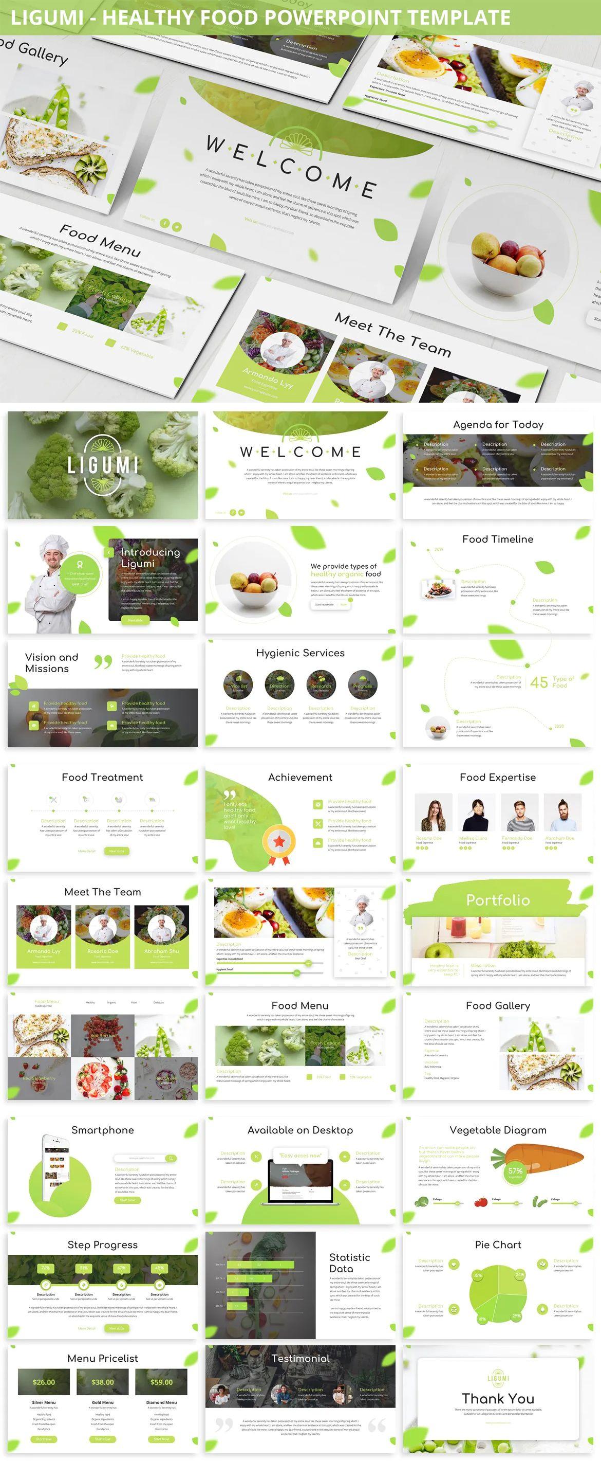 Ligumi Healthy Food Powerpoint Presentation Template 12 Files