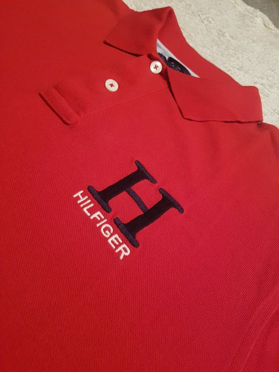 4a94810f 1990s Vintage Tommy Hilfiger Rugby Polo Shirt - 90s Red Tommy Hilfiger Big  Logo Short Sleeve Collare