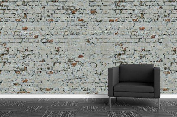 Papier peint brique blanche usée loft photo sympa Pinterest