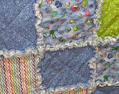 What are little boys made of?  Why bugs and snails and puppy dog tails.  A beautiful little boy rag quilt!  Perfect!