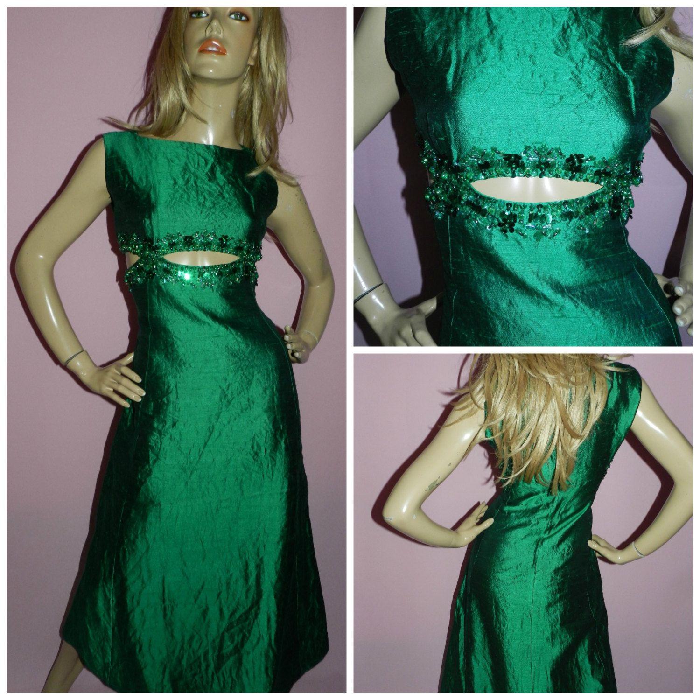 Vintage s emerald green sequin beaded trim cutout maxi evening