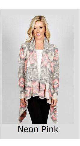 Winter Nights Aztec Knit Cardigan - Neon Pink – Debra's Passion Boutique