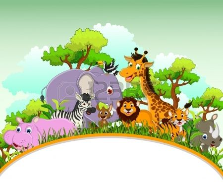 Cute Animal Cartoon With Blank Sign And Tropical Forest Background Animal Pictures For Kids Cartoon Animals Cute Animals