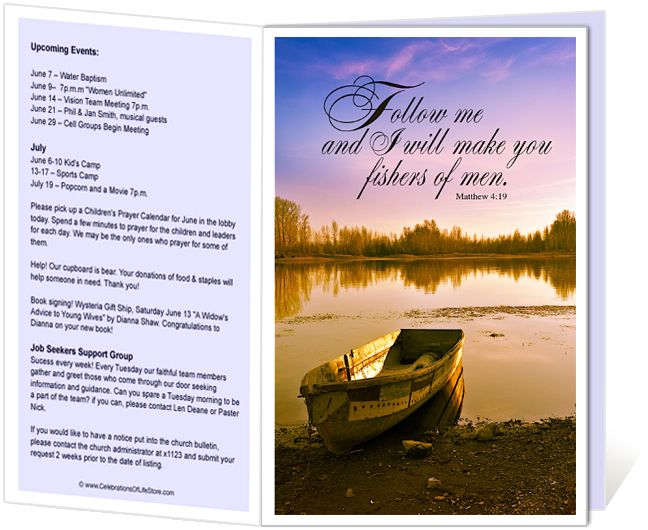 church program template free church bulletins templates i will make you fishers of men church