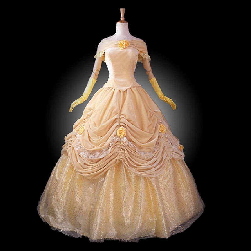 adult princess belle costume women Beauty and the Beast costume cosplay halloween costumes for women velour Prom dress custom-in Clothing from Novelty & Special Use on Aliexpress.com | Alibaba Group
