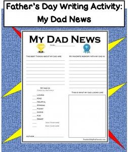 FREE PRINTABLE - Father's Day Writing Activity: My Dad News - Perfect For 2nd Grade, 3rd Grade, 4th Grade, 5th Grade, and 6th Grade