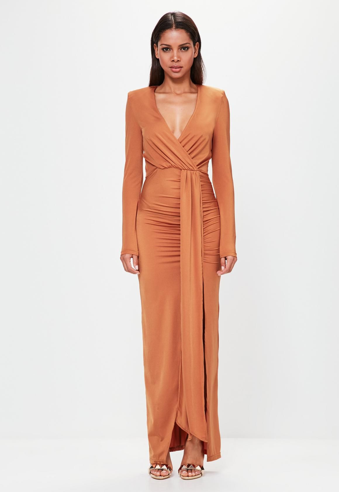 Missguided Orange Long Sleeve Wrap Maxi Dress | Missguided, Maxi ...