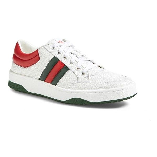 Gucci 'Ronnie' Low Top Sneaker (1,990 SAR) ❤ liked on Polyvore featuring shoes, sneakers, white, white shoes, lacing sneakers, gucci trainers, lace up sneakers and gucci