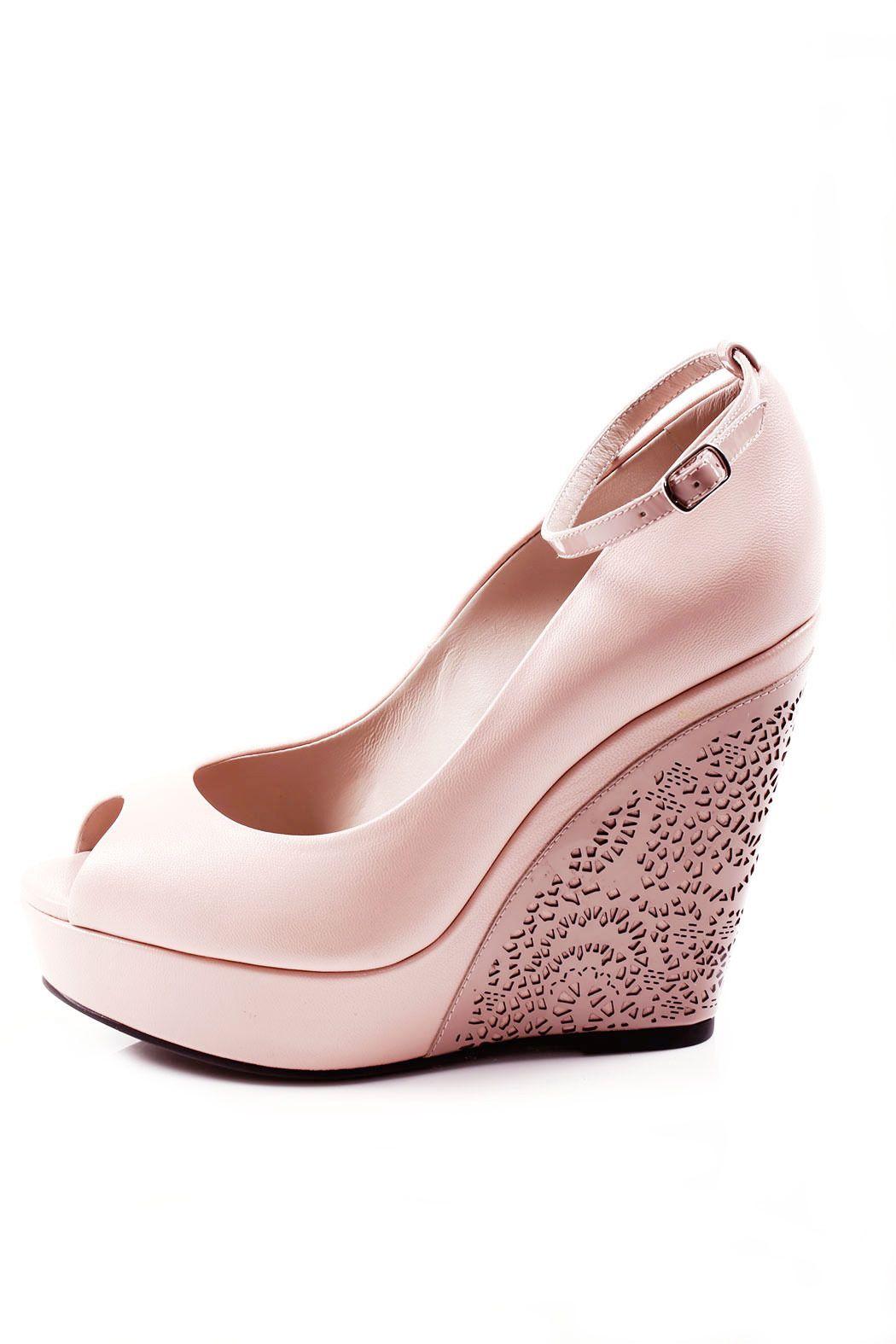 Gode Leather Peep Toe Wedge Blush Wedding Shoes Wedge