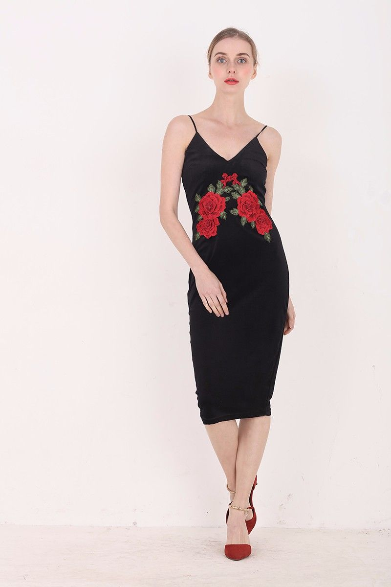 Red Flower Embroidered Black Velvet Shoulder Straps Bodycon Dress Uniqistic Com Dresses Bodycon Dress Unique Dresses [ 1200 x 800 Pixel ]
