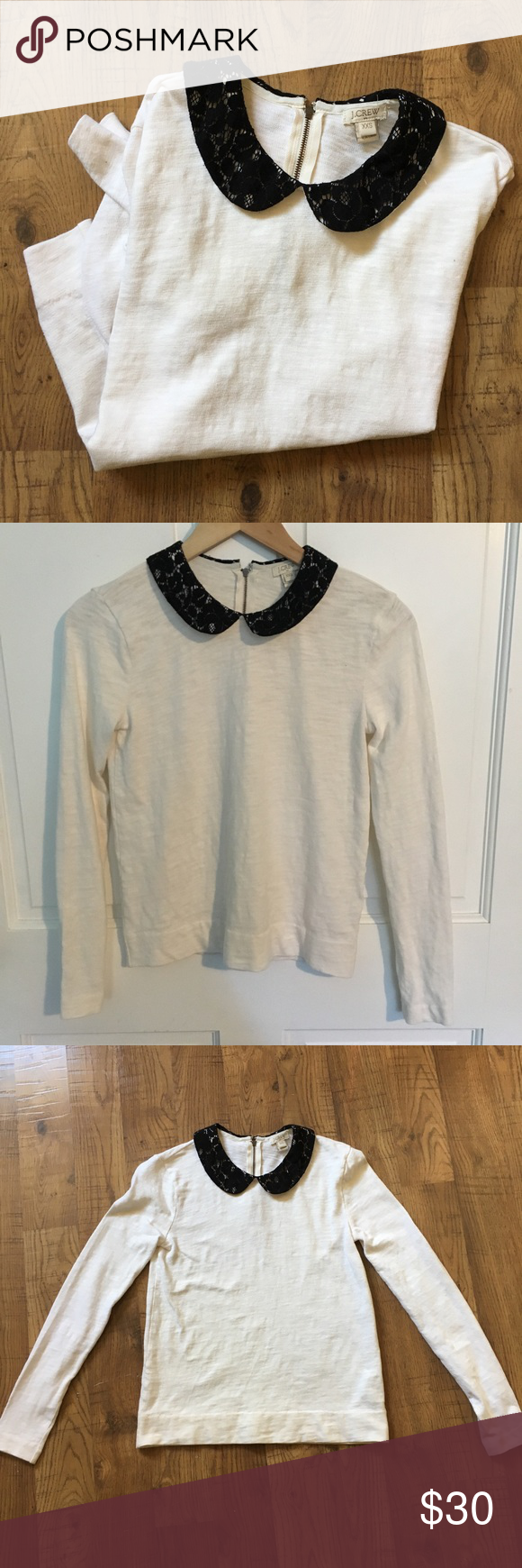 a44321b16ce J.Crew Factory Lace Collar Tee 🎉 Host Pick 🎉 Lace Peter Pan Collar Long  Sleeve Tee. 100% cotton Good used condition with some pilling on Collar, ...