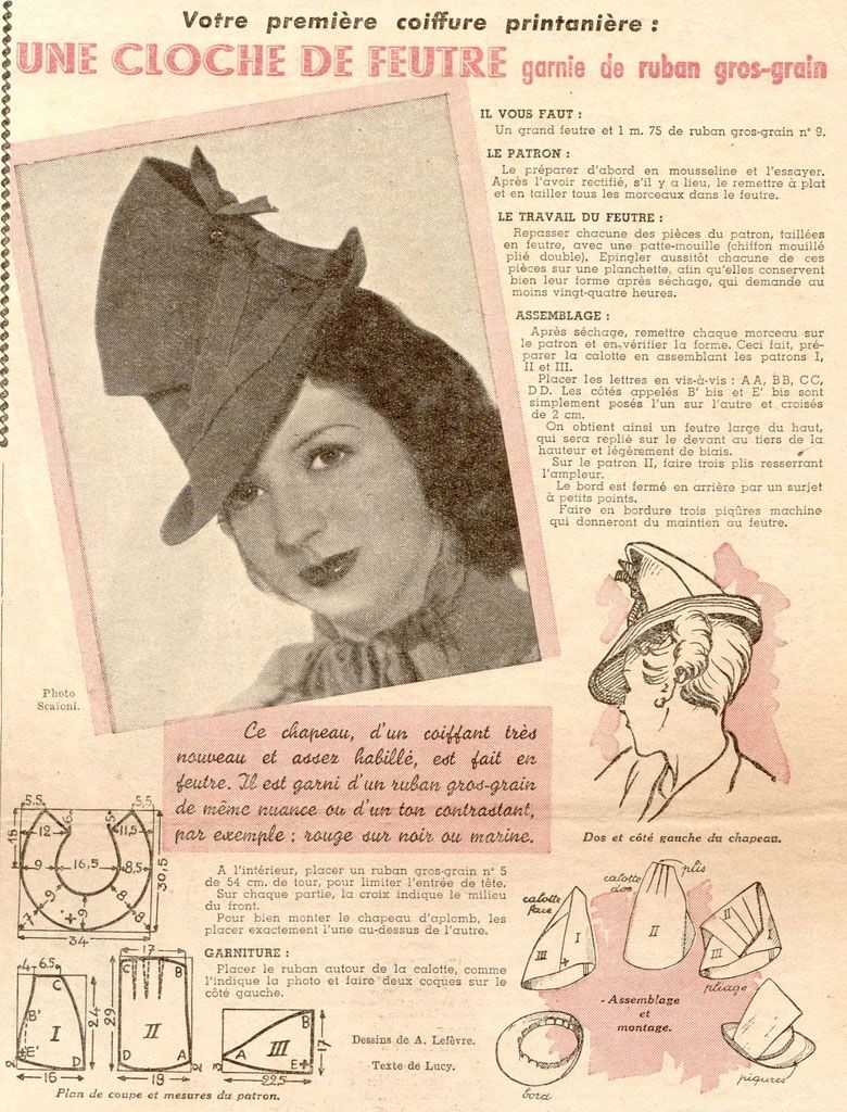 Petit Echo de la Mode- how to make a hat