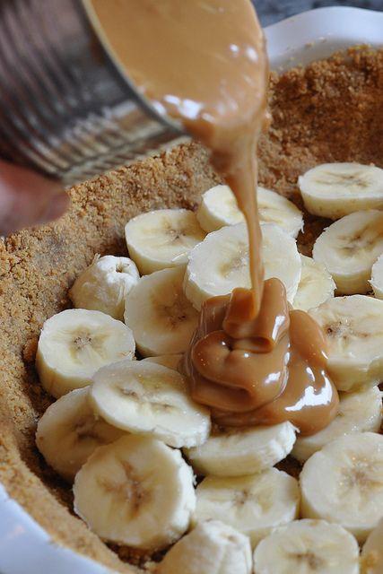 Banoffee Pie (graham crust with bananas, caramelized sweetened condensed milk and chocolate)