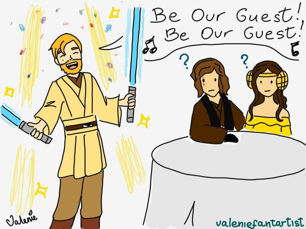 Be Our Guest performed by Obi-Wan Kenobi XD | by valeniefantartist on Tumblr http://valeniefantartist.tumblr.com/