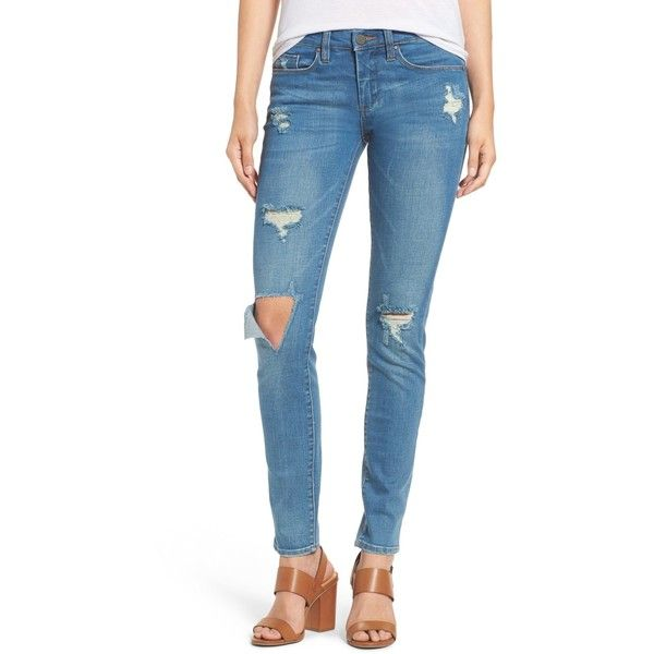 BLANKNYC Denim Distressed Skinny Jeans (Go See) ($35) ❤ liked on Polyvore featuring jeans, go see, blue ripped jeans, destructed skinny jeans, destructed jeans, destroyed jeans and denim skinny jeans
