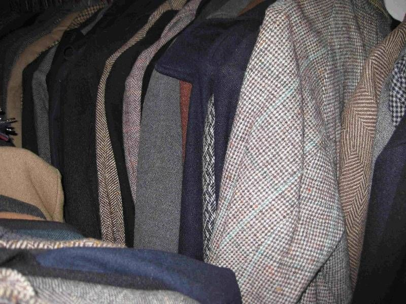 Tweeds and other patterned woolens.