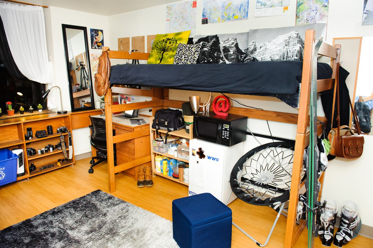 Double Room In Mathes Hall With A Lofted Bed Dorm Inspiration College Dorm Rooms Dorm Room