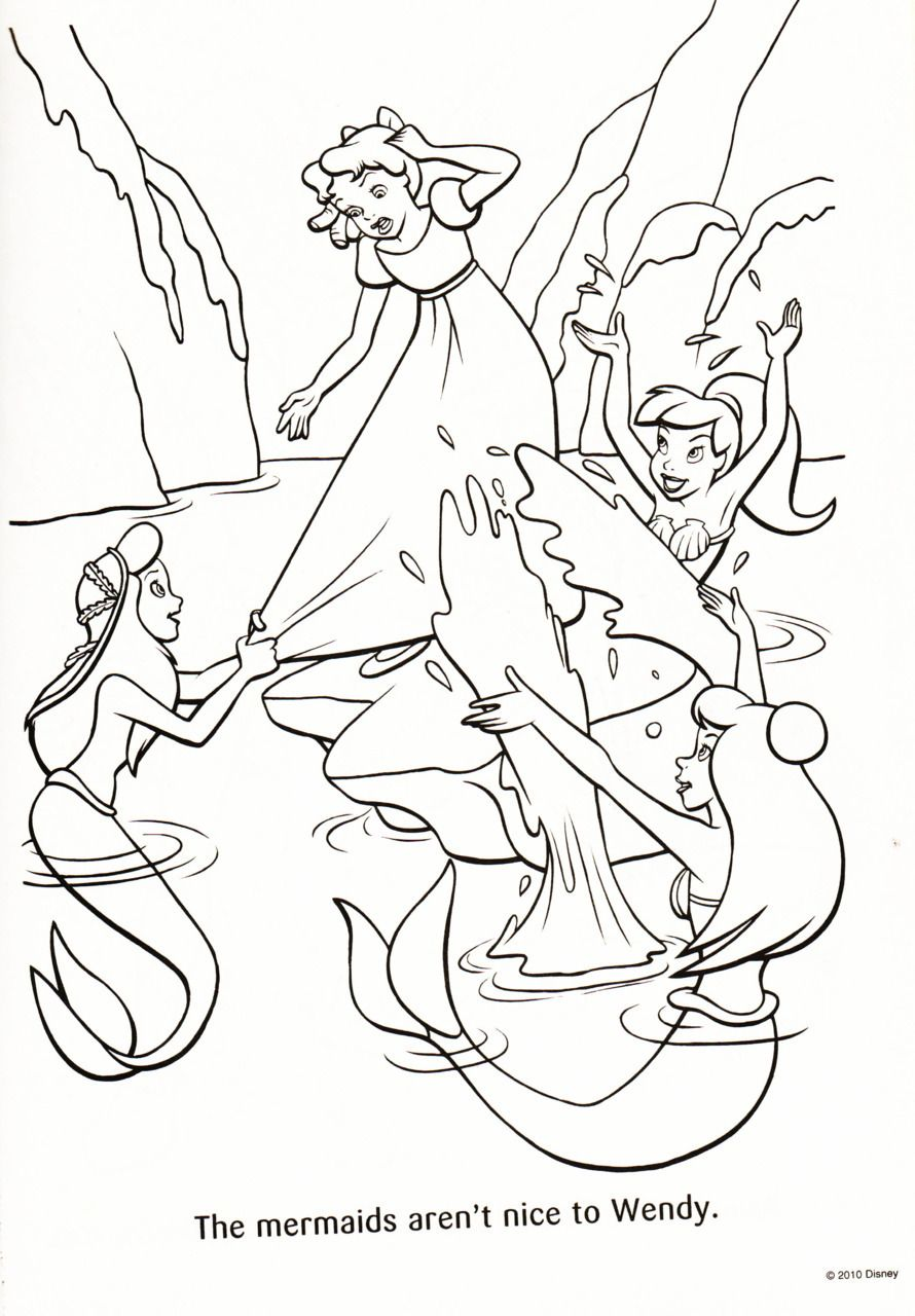 The Mermaids Aren T Nice To Wendy Peter Pan Coloring Pages Mermaid Coloring Pages Coloring Pages