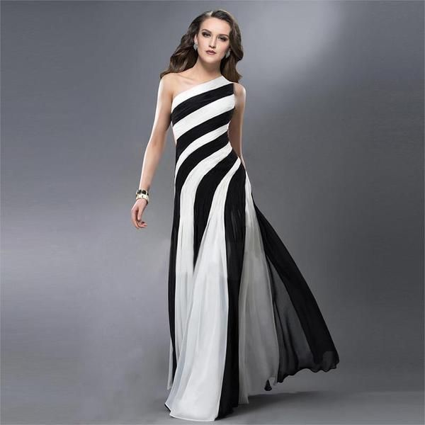 2016 black and white striped prom dress sexy one shoulder women