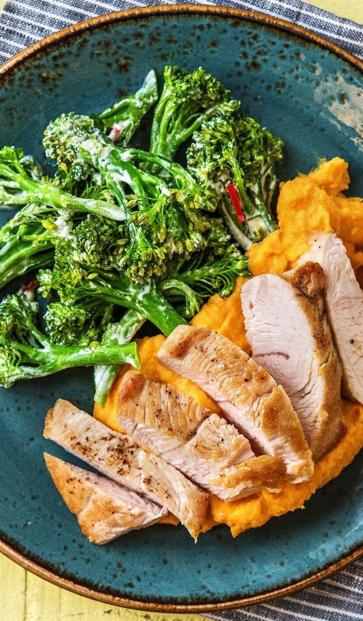 Putenbrustfilet mit Brokkoli und cremigem Süsskartoffel- und Möhrenpüree   - Fitness Rezepte | Koche...