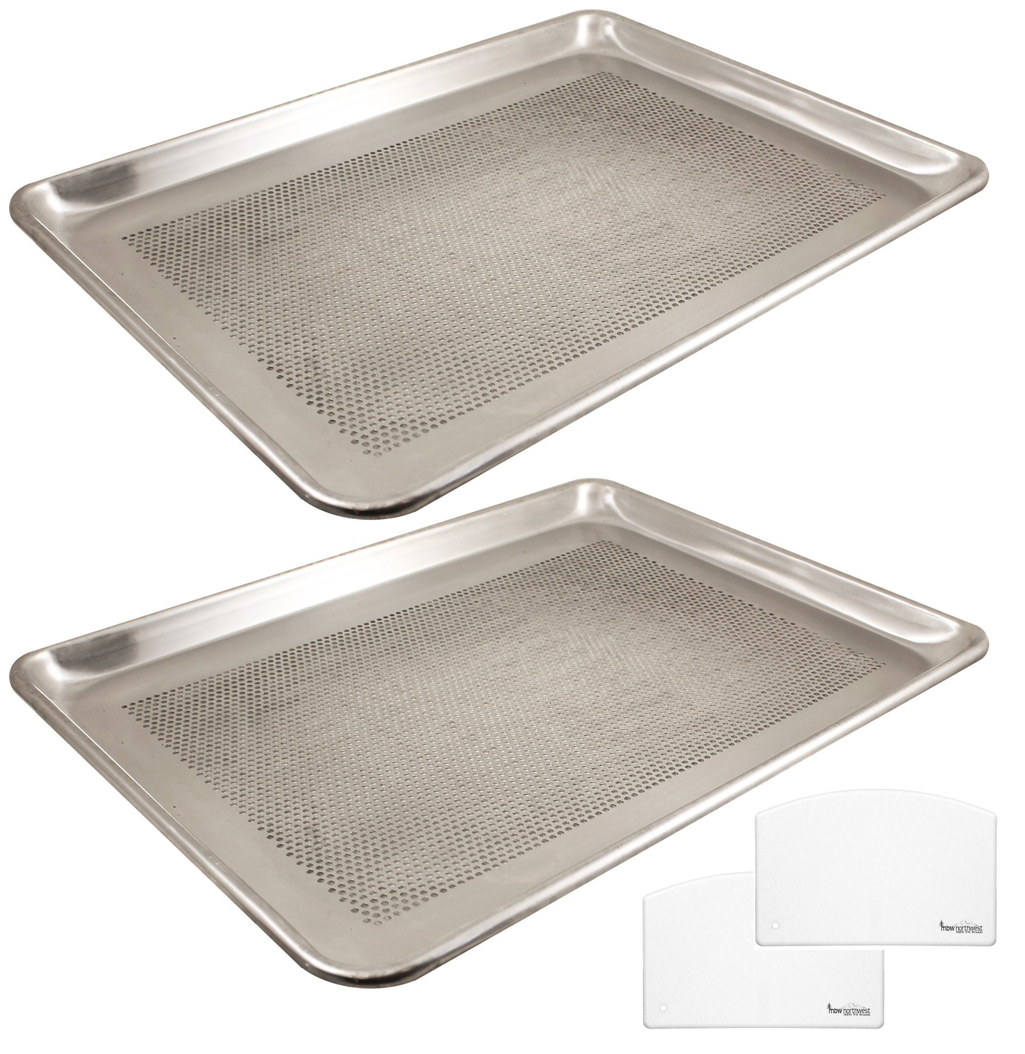 Aluminum Half Size Perforated Baking Sheet Pans With Custom Dough Scrapers 13 Inch By 18 Inch 2pack Click On The Image F Dough Scraper Sheet Pan Baking Sheet