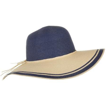 bf1b59f9 Madd Hatter Natural Beige & Navy Blue Straw Floppy Hat   Bealls Florida