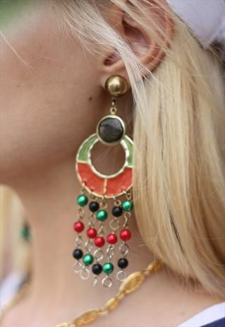1990's Oversize Orange & Green Statement Earrings from Bohemianrose vintage
