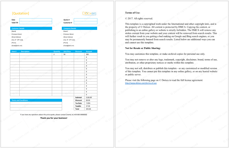 Product Quotation Format – Quote Word Template