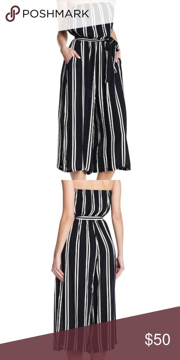 463d4c3c9012 Dress Forum Striped Strapless Culotte Jumpsuit Lightly worn. Navy white