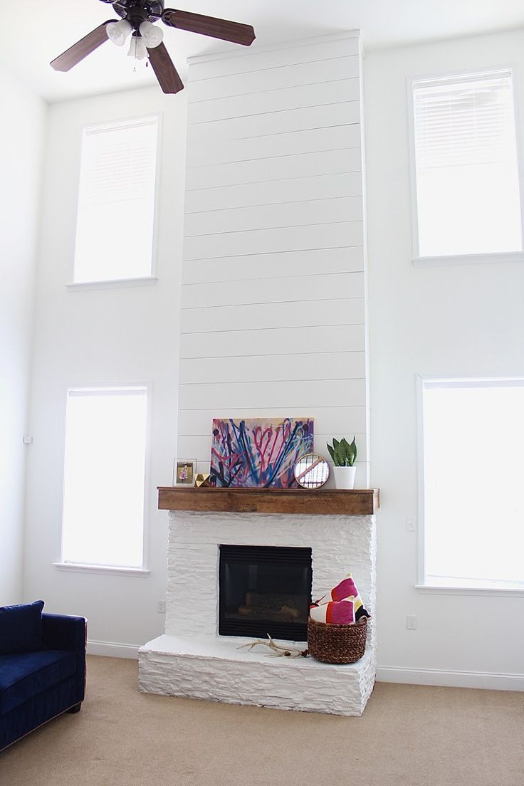 modern rustic mantel makeover painted stone shiplap rough