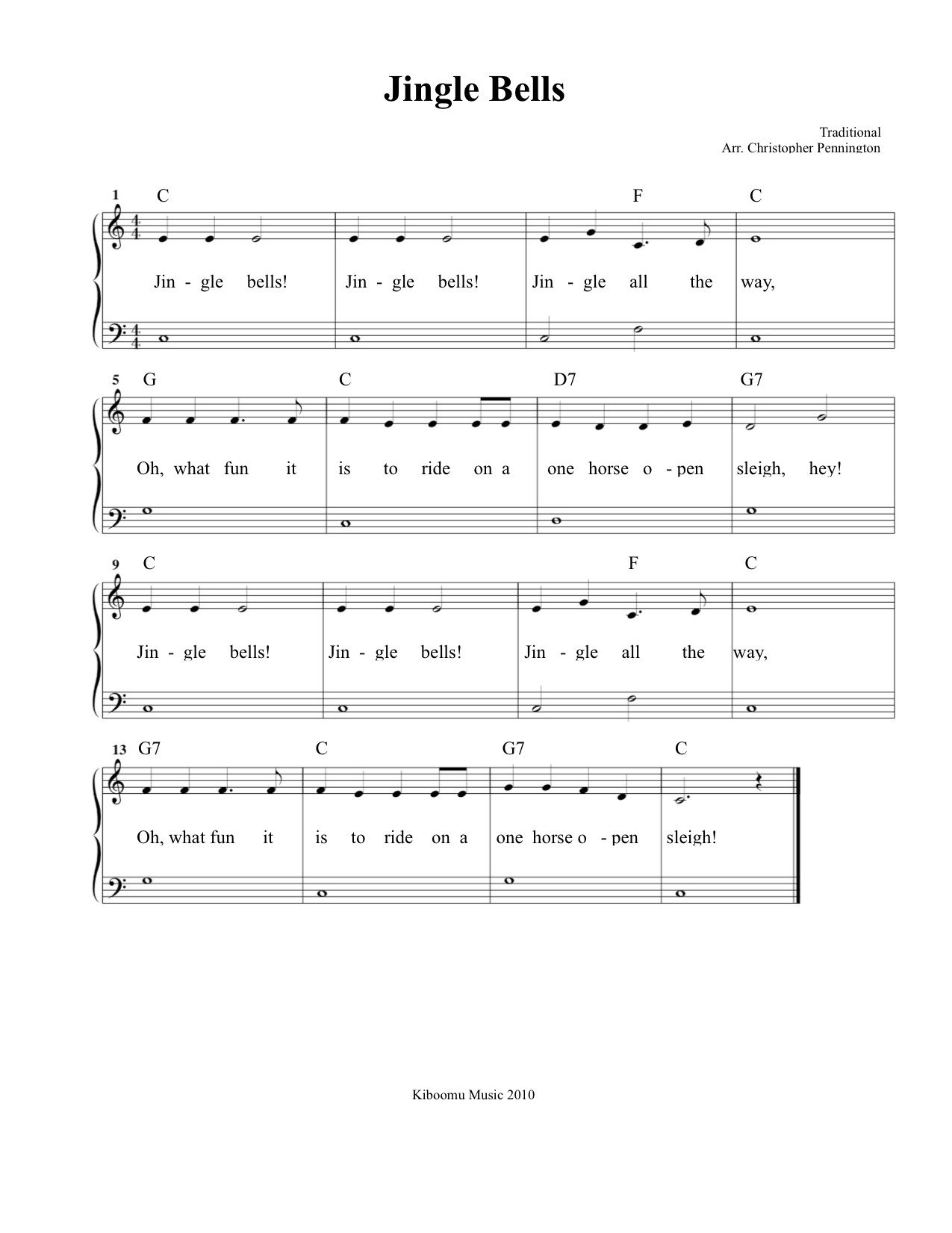 Free Printable Jingle Bells Sheet Music and Song for Kids ...