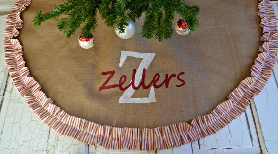 Wedding gift personalized-CHRISTMAS Tree Skirt Red and White Vintage