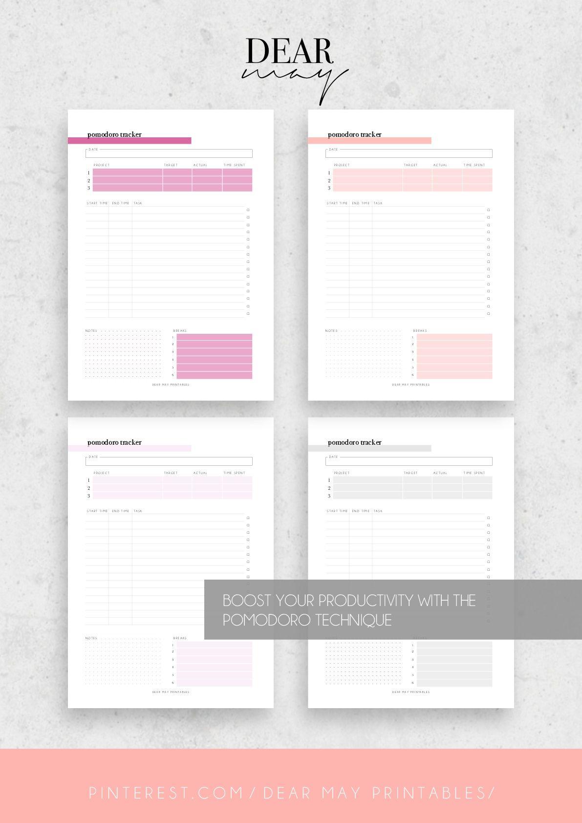 pomodoro technique planner printable study session tracker